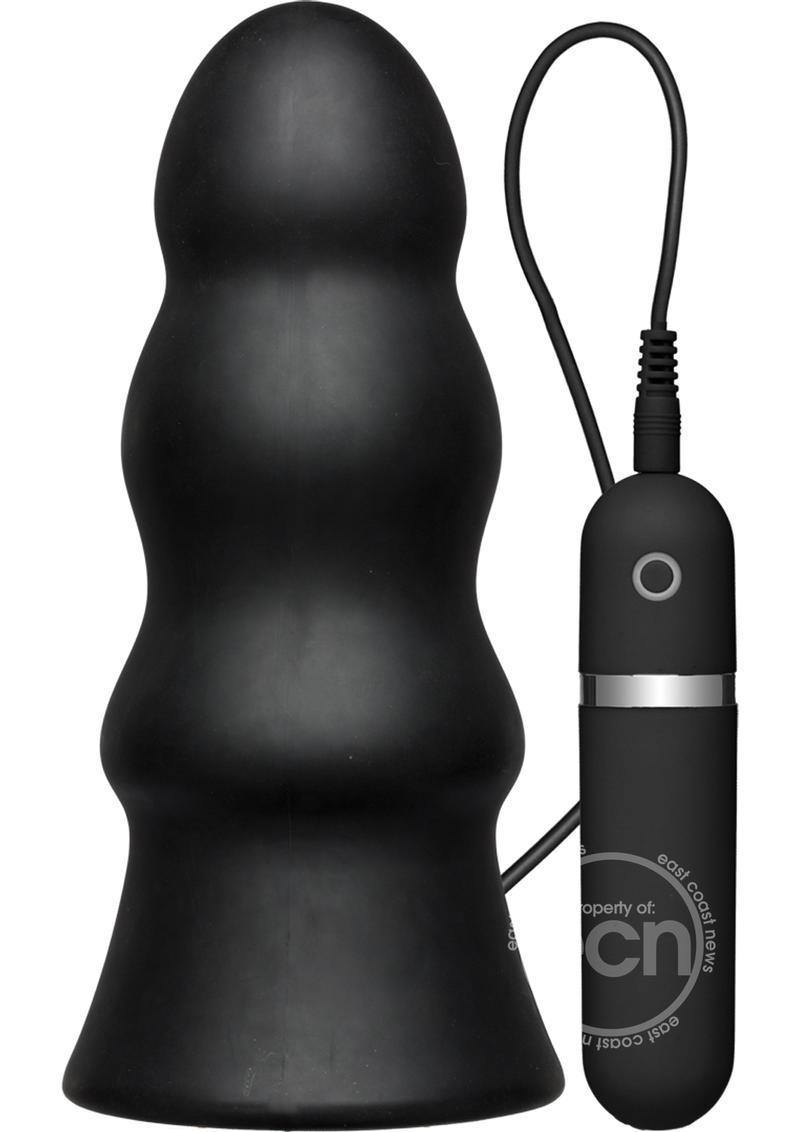 Vibrating Silicone Butt Plug 7.5 Black